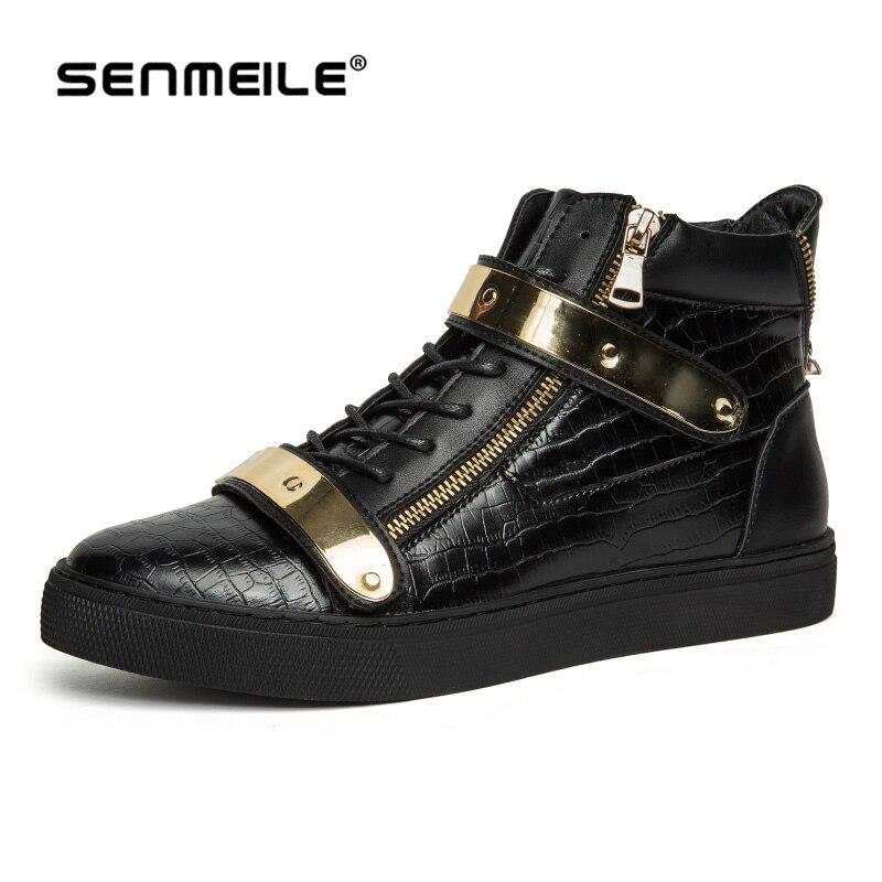2016 yeni stil İngiliz tarzı erkek Metal için yüksek top deri Ayakkabı erkekler 72333