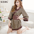 Women's Ladies Girl Leopard Coffee Satin Uniform Kimono Sleepewear Bowknot Sexy Lingerie With Belt Babydoll Free Shipping 4089
