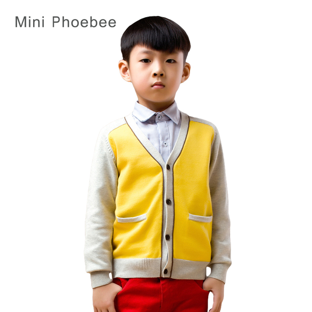 40e248009aa6 2-8 anni ragazzi cardigan per i ragazzi di marca cotone Giallo bambini  abbigliamento invernale