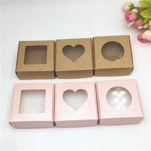 סיטונאי 50pcs קראפט נייר קופסא שקוף PVC חלון סבון קופסות תכשיטי אריזת מתנת חתונה טובה קופסא ממתקים