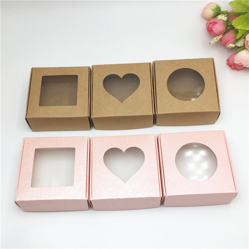 Wholesale 50pcs Kraft Paper Box Transparent PVC Window Soap Boxes Jewelry Gift Packaging Box Wedding Favors Candy Box