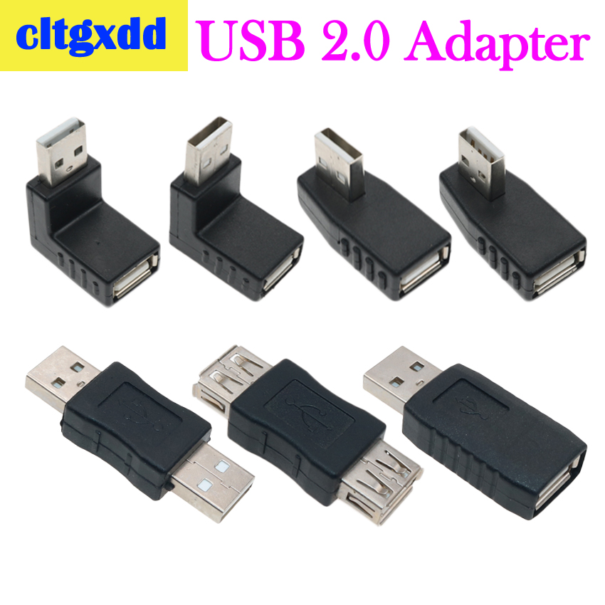 Cltgxdd Left/Right/Below/Above Angle 90/180 Degree USB 2.0 A Male Female Adapter Connecter For Laptop PC Conversion Socket