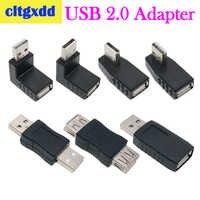 Cltgxdd Links/Rechts/Unten/Oben Winkel 90/180 Grad USB 2.0 EINE Männlich Weiblich Adapter Connecter Für Laptop PC conversion sockel