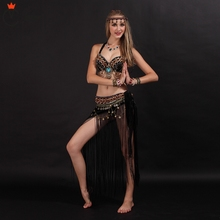 купить size Women Belly Dancing Clothes Tribal Outfit Coins Bra, skirt(combine with Tassel Hip Scarf) Tribal Belly Dance Costume Set по цене 2969.98 рублей