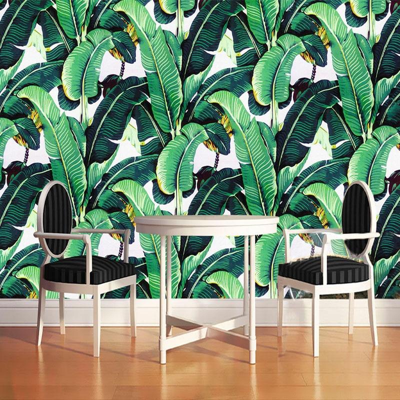 Custom 3D Photo Wallpaper Pastoral Retro Hand Painted Banana Leaf Mural Wall Painting Living Room Bedroom Wallpaper Waterproof