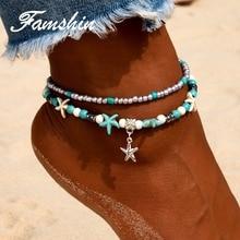FAMSHIN Fashion Retro Bohemia Round Rune Starfish Anklet ساحل پا طلا و جواهر ساده کشیدن مهره ببو بوته دستبند زنانه