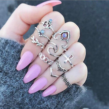 Gold Silver Elephant Flower Rose Heart Crown Carved Rings Set Knuckle Finger Midi Ring for Women Jewelry