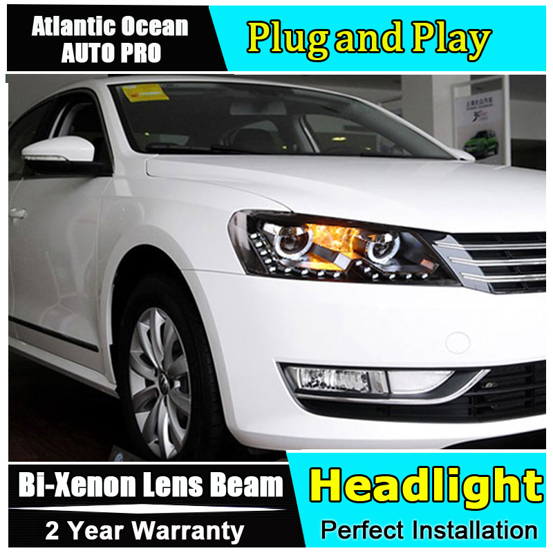 Free Shipping Car Styling for VW Passat B7 Headlights VW LED Headlight Lens Double Beam HID KIT Xenon bi xenon lens набор автомобильных экранов trokot для vw passat b7 2010 2014 на передние двери tr0408 01