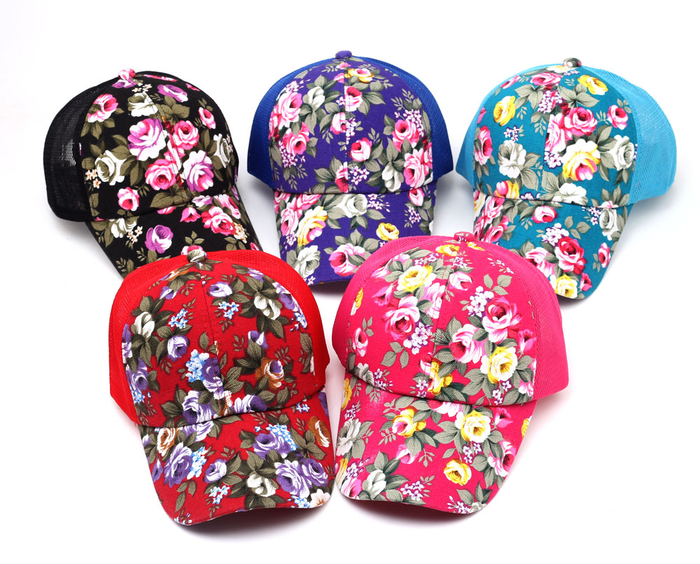 2016 hot sale female floral baseball hat for women spring and summer casual cap girls sun snapback hats for sport l leisure 1