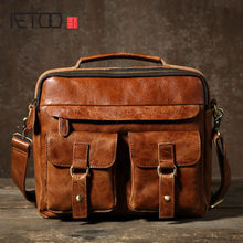 AETOO The men's Vintage, oil wax, cowhide, single shoulder, oblique shoulder, hand mail, handbag, fashion(China)