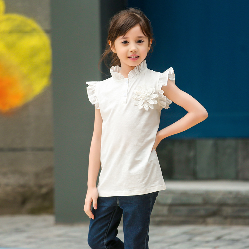 2016 Kids Girls Flower T-Shirts Baby Girl Cotton Tops Casual Short Sleeved Tees Children