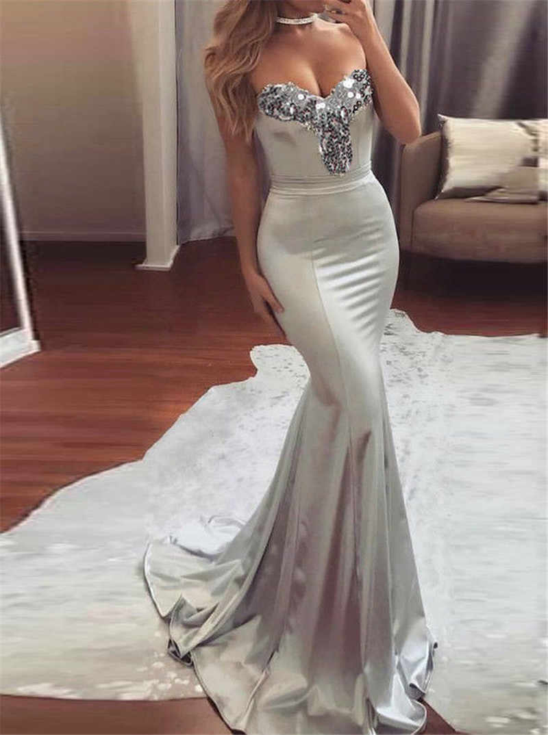 Elegant Women Strapless V-neck Sequins Formal Summer Dress Wedding Bridesmaid Long Maxi Mermaid Dress Party Ball Prom Gown Dress