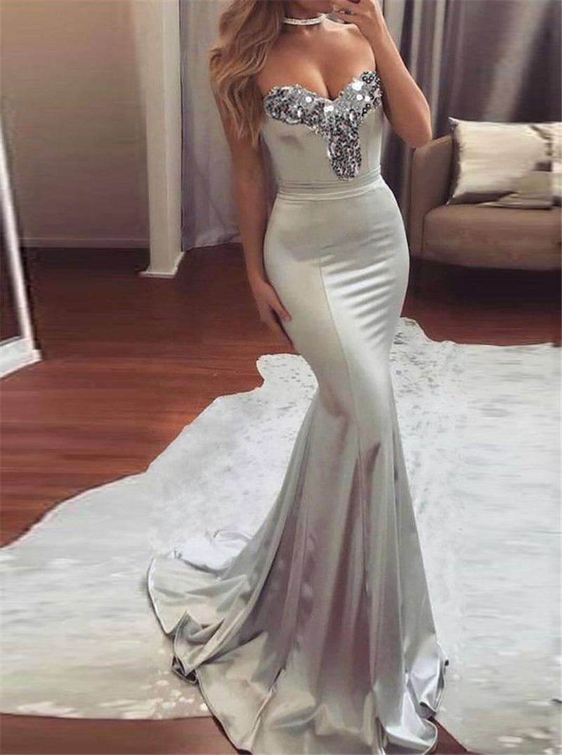 5147c08816 Elegant Women Strapless V-neck Sequins Formal Summer Dress Wedding Bridesmaid  Long Maxi Mermaid Dress Party Ball Prom Gown Dress