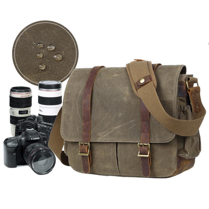 Men Vintage Casual Wax Waterproof Crossbody Canvas Bags High Quality Photo Camera Shoulder Bags Retro School