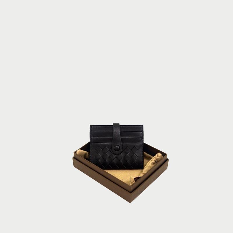 2019 nouveau modèle sac de carte de crédit en cuir véritable tissé à la main homme et femme même style bouton double face