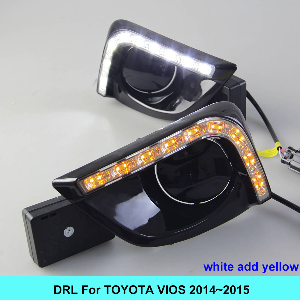 2PCs/set LED DRL Car daylight Daytime Running Lights For Toyota Vios 2014 2015 with Turn Signal lamp Function 2pcs new style led drl car daylight daytime running lights for toyota camry aurion 2012 2013 2014 with turn signal lamp function