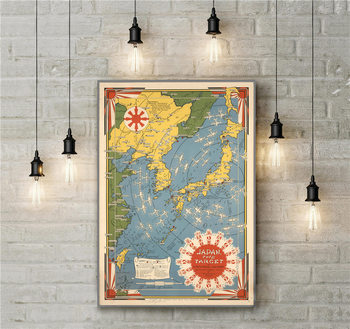 Japón el objetivo un mapa pictórico arte de la pared Poster sobre lienzo sala de dibujo sala de estar decoración pared pegatina imagen colorida