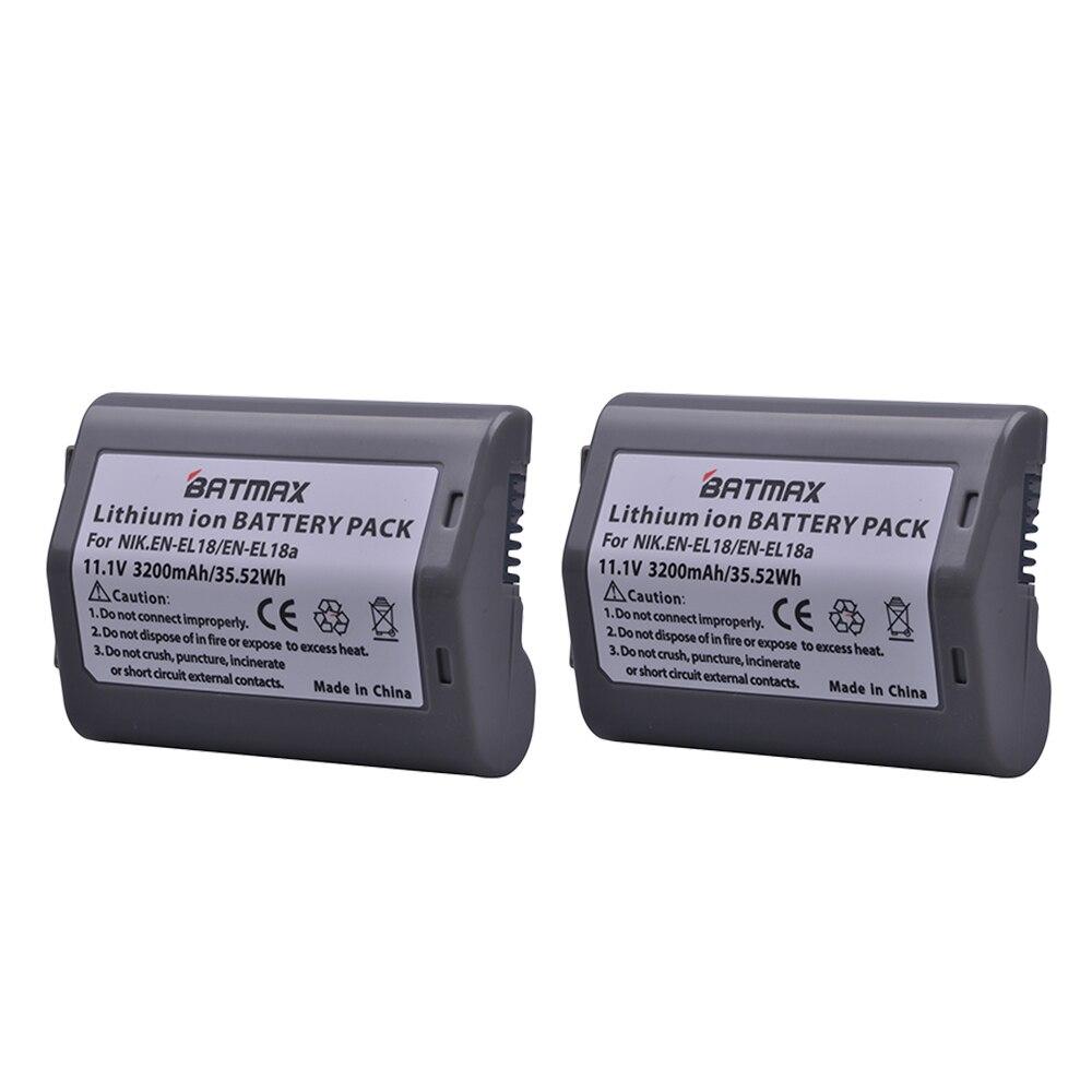 2 pièces 3200 mAh EN-EL18 EN-EL18A ENEL18 EN EL18 batterie d'appareil photo pour Nikon D4, D4S, D5 appareils photo Nikon MB-D12, D800, D800E poignée de batterie