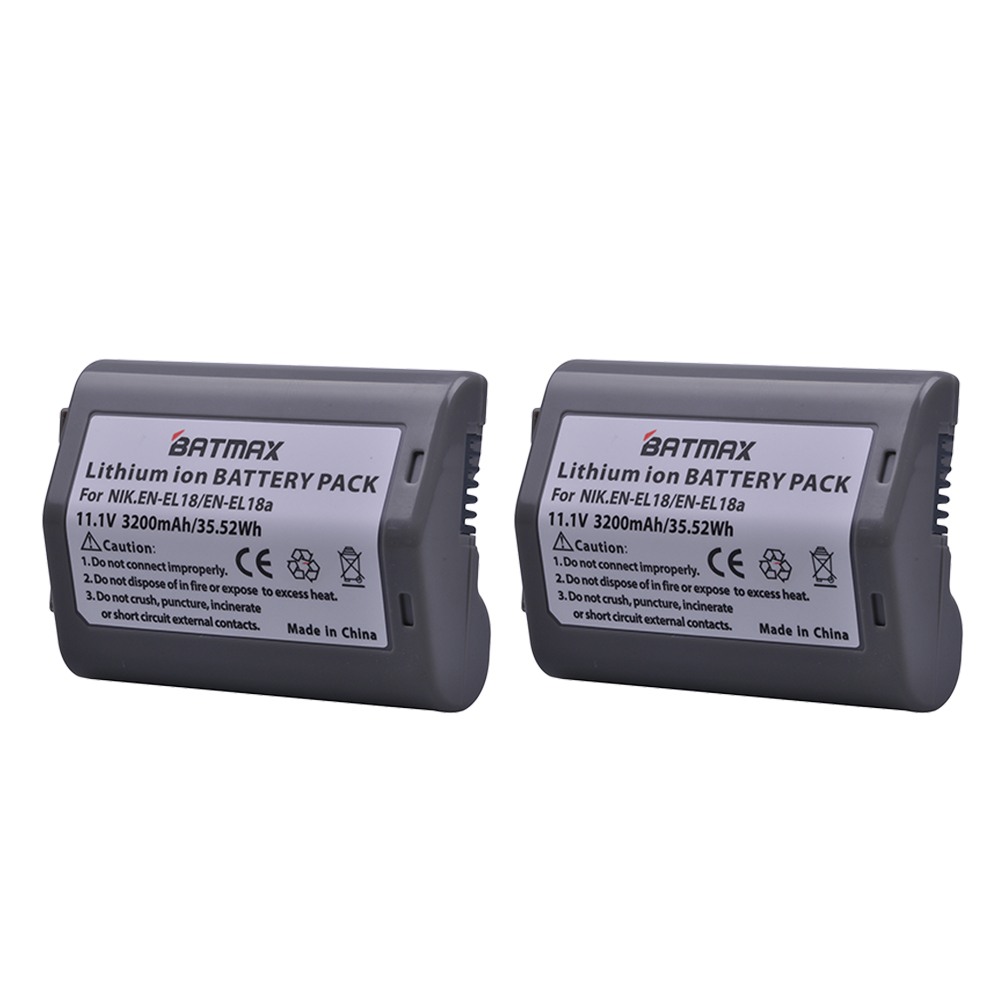 2Pcs 3200mAh EN-EL18 EN-EL18A ENEL18 EN EL18 Camera Battery For Nikon D4, D4S, D5 Cameras Nikon MB-D12, D800, D800E Battery Grip