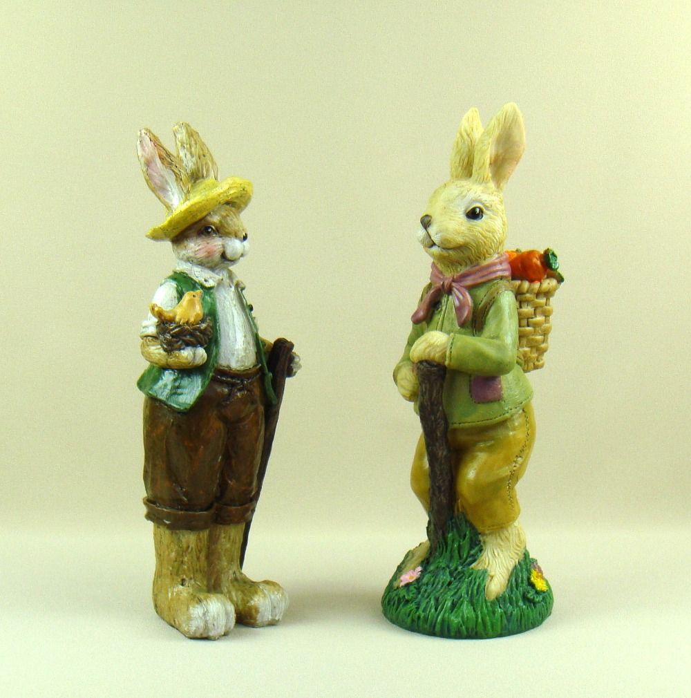 ᗑ】Hare Couple Figurines Handmade Resin Bunny and Carrots Statue ...