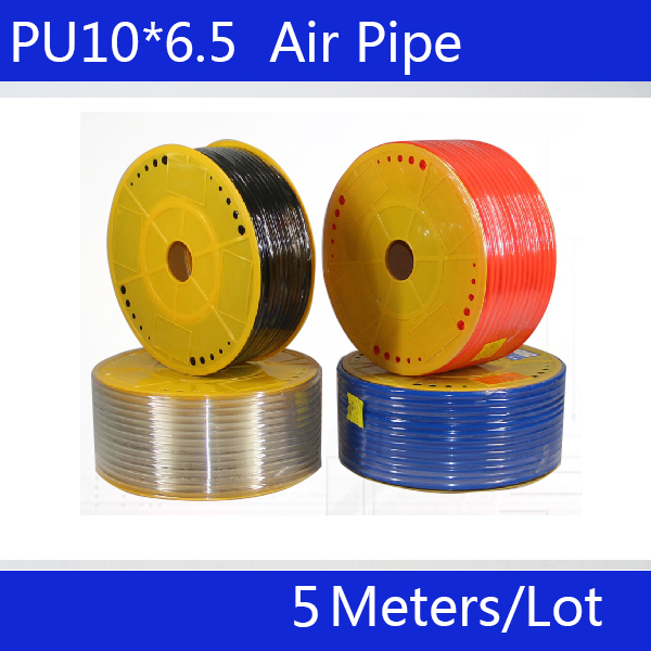 Free shipping PU Pipe 10*6.5mm for air & water 5M/lot Pneumatic parts pneumatic hose ID 6.5mm OD 10mm