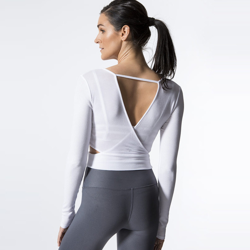 Women Yoga Shirts V-neck Backles Long Sleeve T-shirts Sweatshirts Running Jogging Casual Fitness Gym Athletic Wear