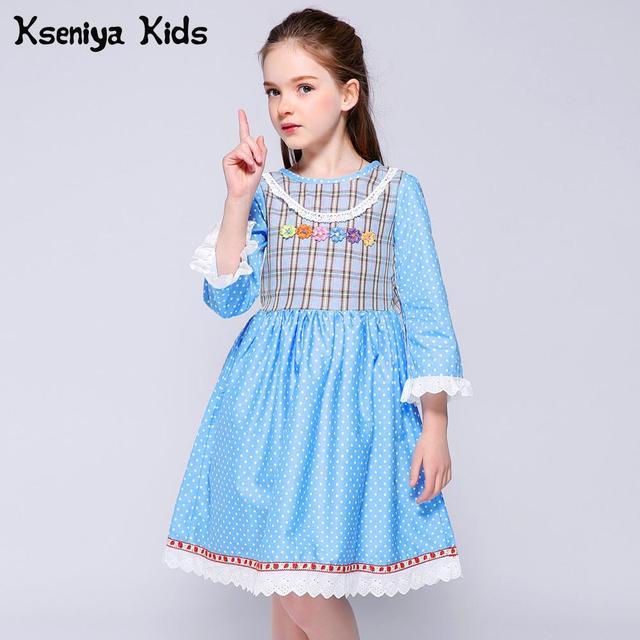 Kseniya Kids 2018 Girl Print Dress Petal Sleeve Lace Floral Appliques Plaid Dot Fashion Girls Dresses For Party And Wedding