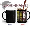 Tazas de juego De Tronos canción de hielo y fuego calor cambio de color taza de café Taza De Té De Cerámica de la Casa Stark, Baratheon, Greyjoy, Martell