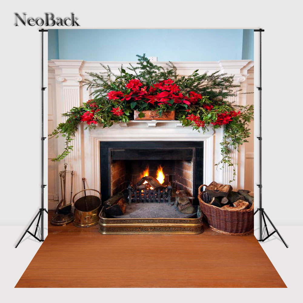NeoBack   Vinyl photo  Printed New Born Baby Photography Backdrops Christmas Fire place Backgrounds Photo studio A1062