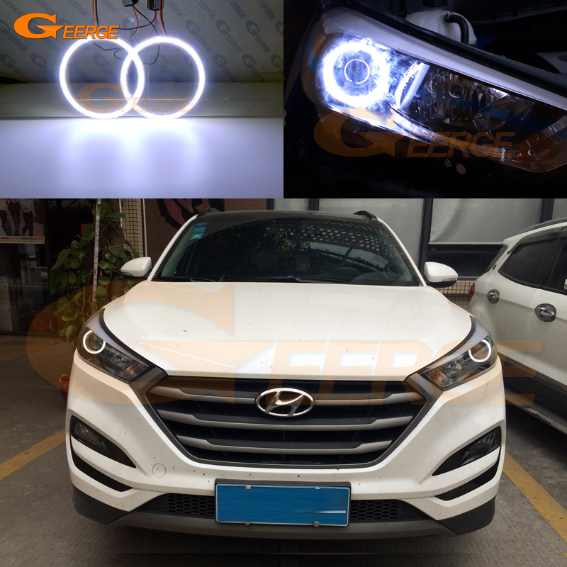 For Hyundai Tucson 2016 2017 HALOGEN HEADLIGHT Excellent angel eyes Ultra bright illumination COB led angel eyes kit 2pcs purple blue red green led demon eyes for bixenon projector lens hella5 q5 2 5inch and 3 0inch headlight angel devil demon