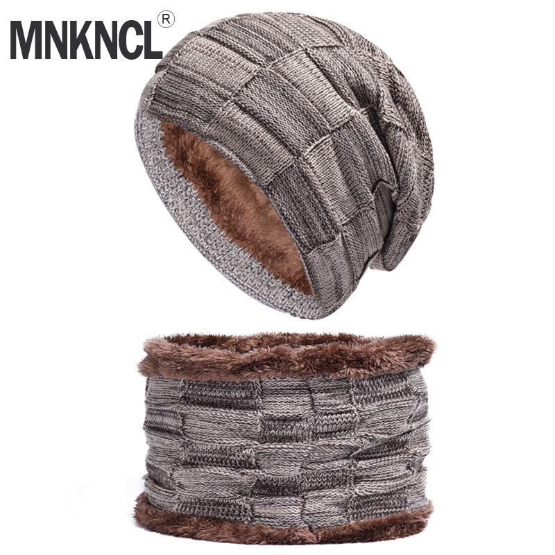 MNKNCL Balaclava Knitted Hat Scarf Caps Neck Warmer Winter Hat For Men Women   Skullies     Beanies   Warm Fleece Caps