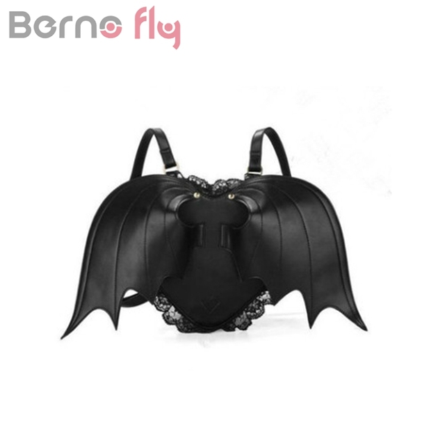 Berno Fly Women Backpack Bat Wing Punk Stylish School Bags For S Bag Angel