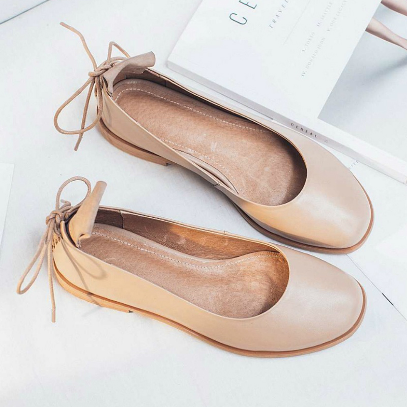 ФОТО New Fashion Brand Shoes Genuine Leather Slip on Round Toe Lace Up Preppy Style Low Heel Bowtie Women Pumps Mary Jane Shoes 19