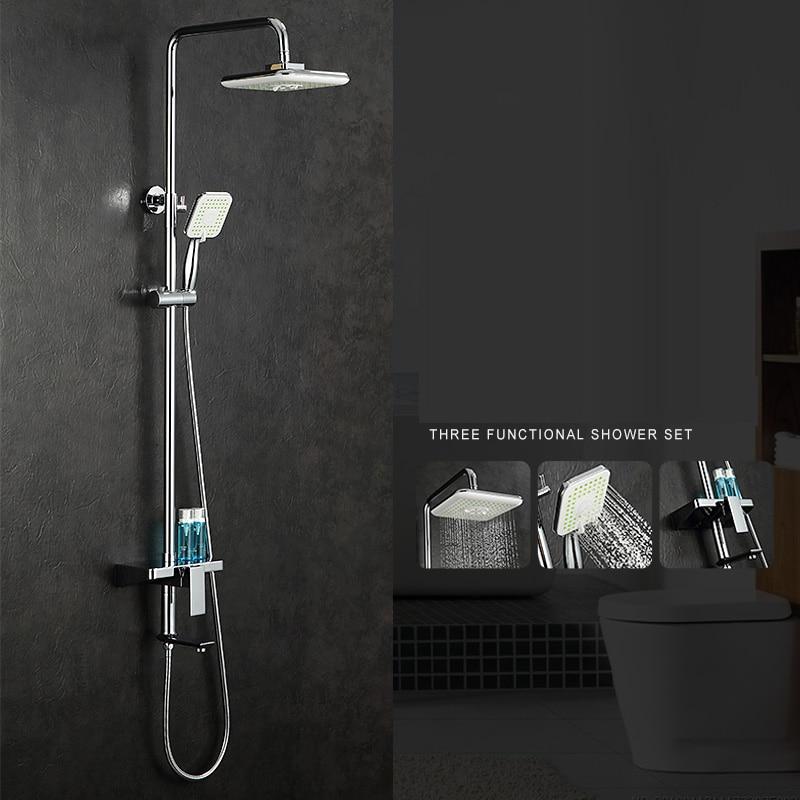 Bathroom Shower Set Brass Chrome Wall Mounted Shower Faucet 10 Shower Head Water Saving Nozzle Aerator Ceramic Rack Shower Set