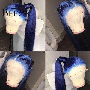 Image 2 - Beeos Farbige Blau 150% 13*6 Spitze Front Menschliches Haar Perücken Pre Gezupft Haaransatz Brasilianische Spitze Perücke mit Baby haar Remy