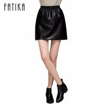 Fatika Новый Мода 2017 г. Для женщин черного, желтого цвета Искусственная кожа линия мини-юбка эластичный пояс Повседневное Марка уютный Юбки для женщин
