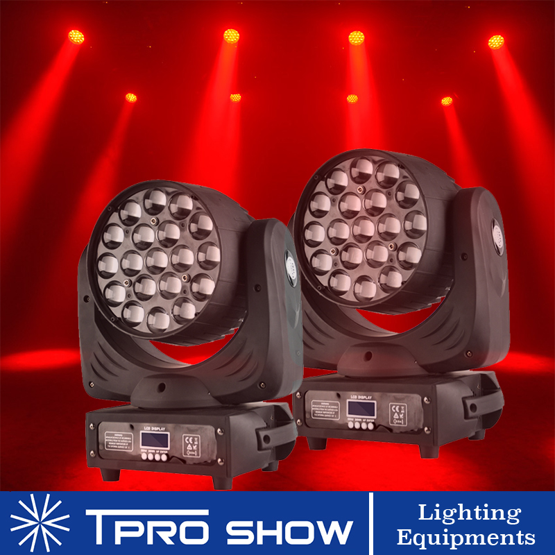 2Pcs Moving Head 19x15W Zoom LED Wash Stage Lighting Effect Lyre Beam RGBW Unlimited Dynamic Color Dmx Control For Wedding Club