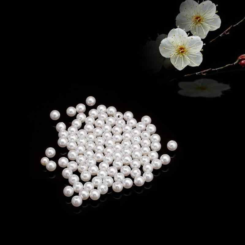 Dijual 4/5/6/8/10/12/14 Mm Simulasi Mutiara Bulat Ruang manik-manik Longgar untuk Gelang Perhiasan Membuat Aksesoris Hadiah Grosir 100 Pcs