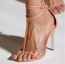 Sexy Pink T-bar Ankle Strap Women Sandals Peep Toe Cut-out T-Strap Banquet Dress Shoes Ladies Gladiator Womens