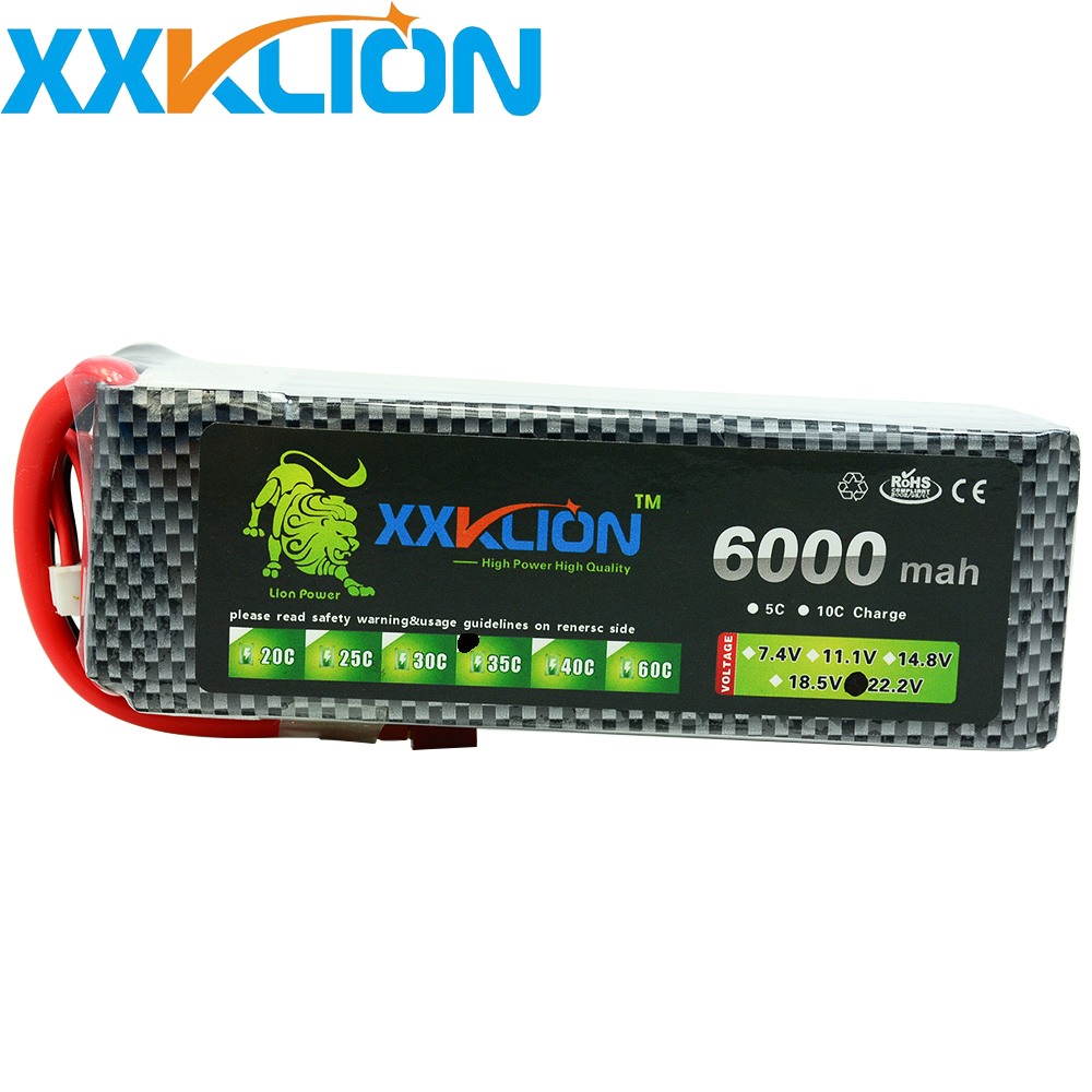 XXKLION 22.2V <font><b>6000mAh</b></font> 35C <font><b>6S</b></font> RC <font><b>LiPo</b></font> battery For RC Airplane Quadrotor Car Boat Drone RC boat drone battery pack Free Shipping image