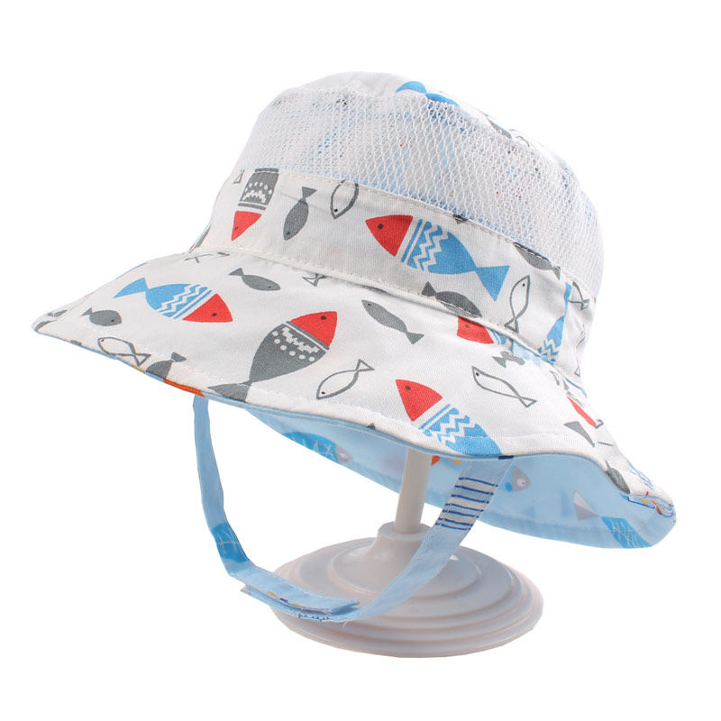 Reversible Mesh Baby Bucket Sun Hat Infant Boys Girls Summer UV Protection Cap with Wide Brim Fashion Cotton Bonnet Chinstrap Stay On (3)