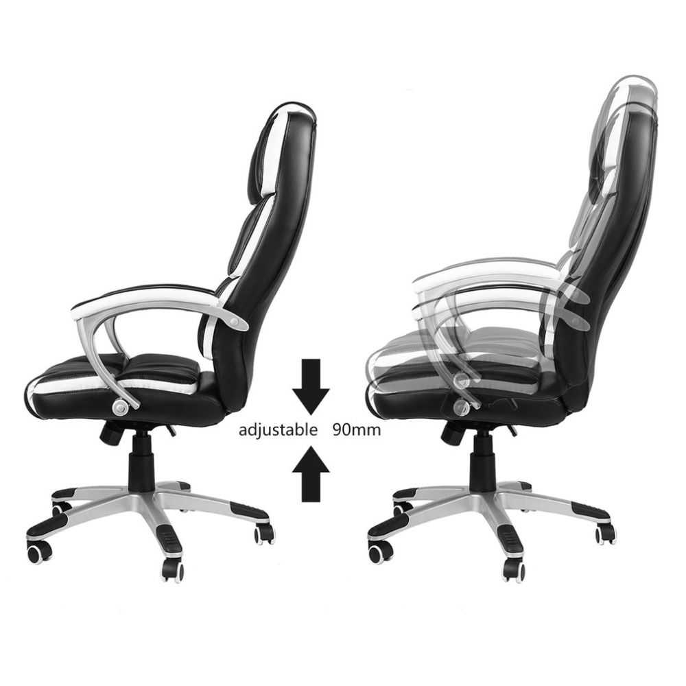 Adjustable Sports Racing Office Chair PU Leather Swivel Cushioned Arm Rest Game Computer Seat High Back Office Seating