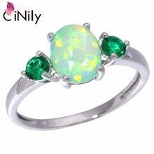 CiNily Created Green Fire Opal Green Quartz Silver Plated Wholesale Fashion Hot Sell for Women Jewelry Ring Size 5-13 OJ5315