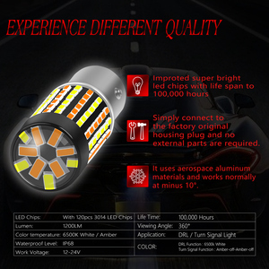 Image 3 - Katur 2pcs Dual Color 1157 BAY15D Led Bulbs For Cars Switchback Orange/White Led Turn Signal Lights With DRL Function 1200Lm