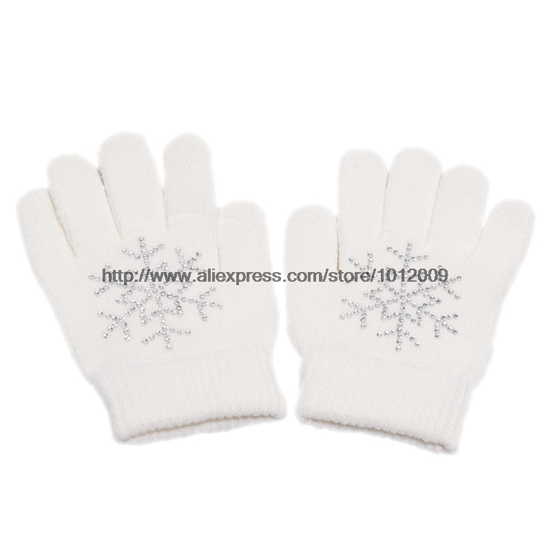 10 Colors Magic Wrist Gloves Figure Skating Ice Training Gloves Exquisite Warm Fleece Thermal Child Adult Snow Rhinestone 3