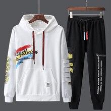 Paragraph Lang Legendary Men Sets 2019 new Fashion Sporting Suit Hoodies + pants suit 2 Pieces Slim Hip Hop  Streetwear