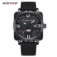 RISTOS Men Quartz Military Watches Extreme Sports Genuine Leather Watch Reloj Masculino Wristwatch Reloj Hombre DeporteTop