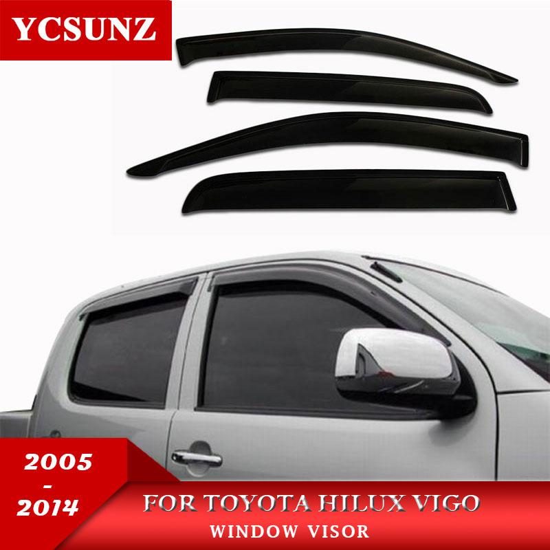Car Wind Deflector Black Car Window Deflector Visor Vent Rain Guard For Toyota Hilux Vigo 2005 2014