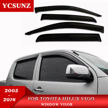 車風偏向器黒の車の窓ディフレクターバイザー雨ガードトヨタハイラックスvigo 2005 2014