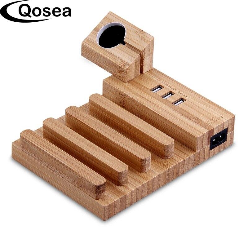 Qosea древесины бамбука зарядка через USB станция настольная подставка Зарядное устройство 4 Порты USB для IPhone X 8 плюс Apple Watch 3 42 мм iPad и Планшеты PC
